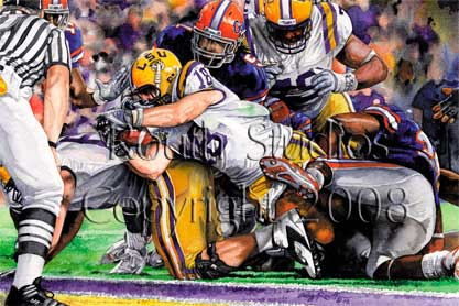 "LSU Painting Gallery - Jacob Hester Winning Touchdown, ""Unstoppable"" by Craig Routh"