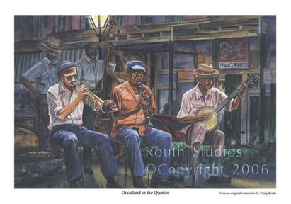 "Craig Routh, Artist & Illustrator Scenic watercolor gallery - ""Dixieland in the Quarter"""