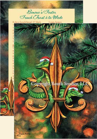 Louisiana Greeting Cards - Cajun Greeting Cards - Fleur-de-lis and Christmas Alligators Christmas Cards