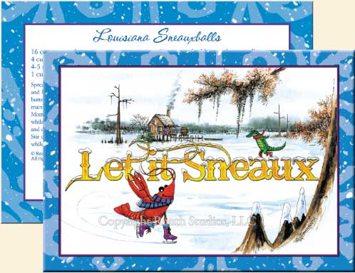 Louisiana Greeting Cards - Cajun Greeting Cards - Let it Sneaux Christmas Cards