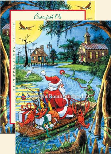 Louisiana Greeting Cards - Cajun Greeting Cards - Santa's Bayou Trek Christmas Cards