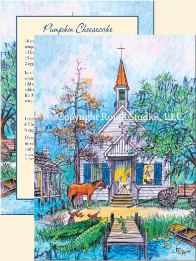 Louisiana Greeting and Christmas Cards - Cajun Greeting and Christmas Card - Bayou Nativity