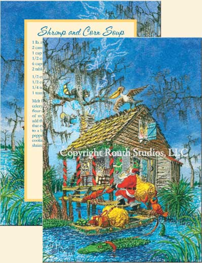 Louisiana Greeting Cards - Cajun Greeting Cards - Santa's Little Helpers Christmas Cards
