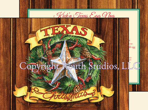 Texas Christmas Wreath Holiday Christmas Cards Red jalapeno peppers