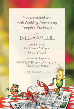 Crawfish Boil Invitations Crawfish Dancing with the Corn and Potatoes Louisiana Invitations - Cajun Invitations