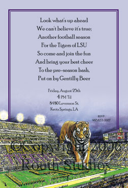 LSU Tiger Stadium Party Invitations Louisiana State University