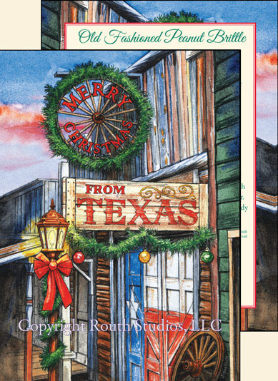 Texas Christmas Cards.Texas Christmas Cards Old Fashioned Texas Town