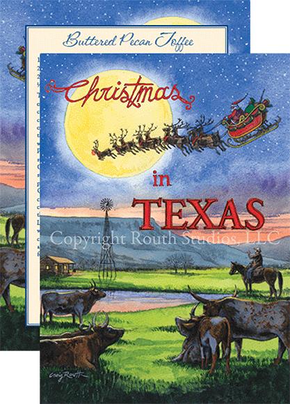 texas holiday christmas cards santas midnight ride through the texas sky