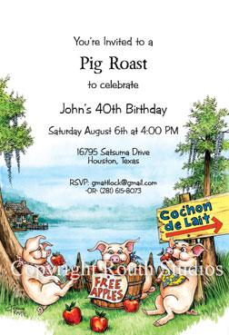 cochon de lait pig roast invitations
