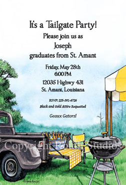 Football Tailgate Party Invitations Black And Gold Tailgate